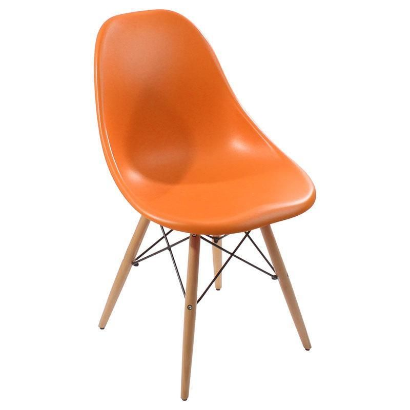chairs plastic chair in orange color with wooden legs 46x44x80