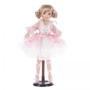 PORCELAIN DOLL W/PINK-WHITE COLOR DRESS