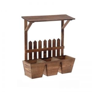 WOODEN PLANTER W/ROOF