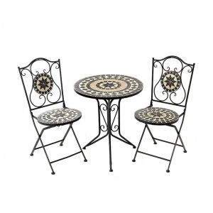METAL TABLE & 2CHAIR SET W/MOSAIC DECO