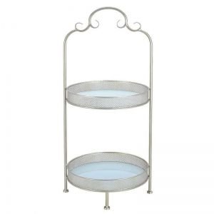 METAL 2 TIER PLATE IN CHAMPAGNE COLOR 37X37X79