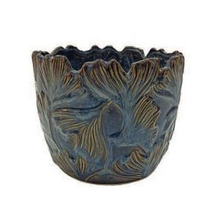 BLUE CERAMIC POT D18X14 W/FLOWERS